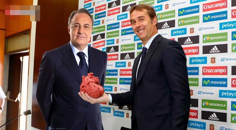 Lopetegui hace entrega a Florentino del corazón de España