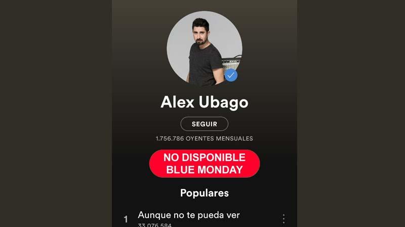 Spotify bloquea los discos de Álex Ubago durante el Blue Monday para evitar suicidios