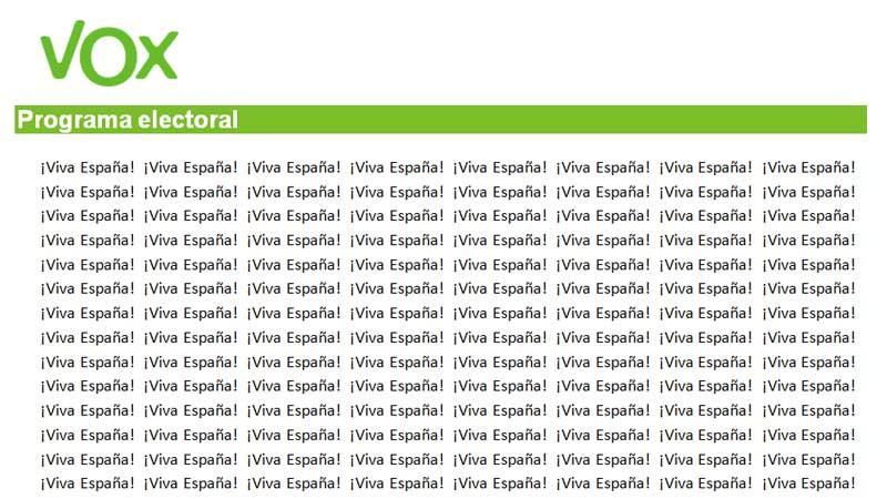 """El programa electoral de VOX será """"Viva España"""" escrito durante 56 paginas"""
