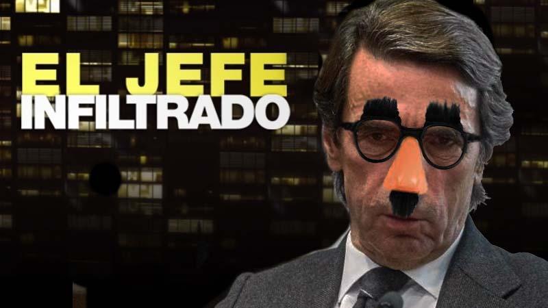 """Aznar graba un capítulo de """"El jefe infiltrado"""" en la sede del PP"""