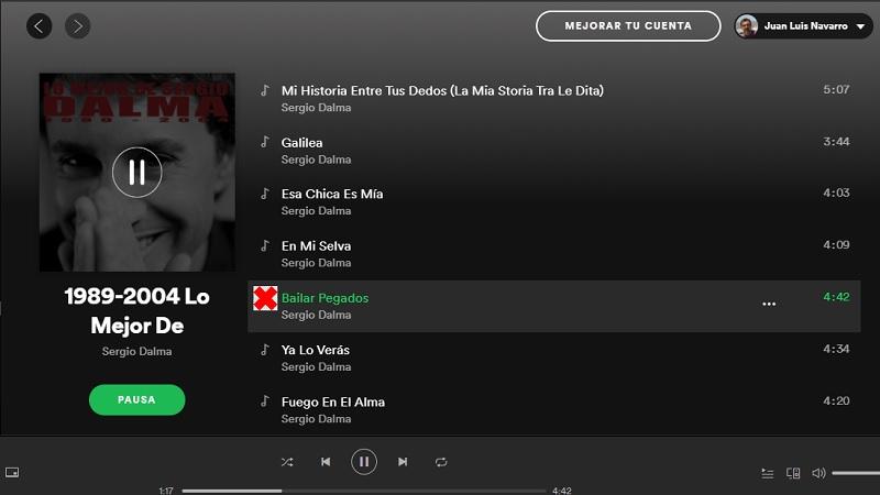 """Spotify retira """"Bailar pegados"""" de su catálogo de canciones"""